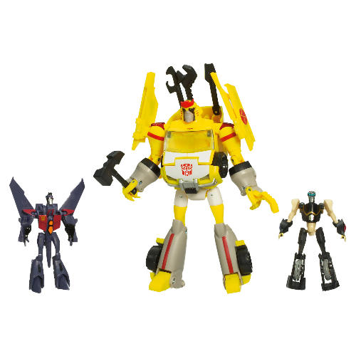 Autobot Ratchet (Rescue) with Legends Prowl and Starscream Image